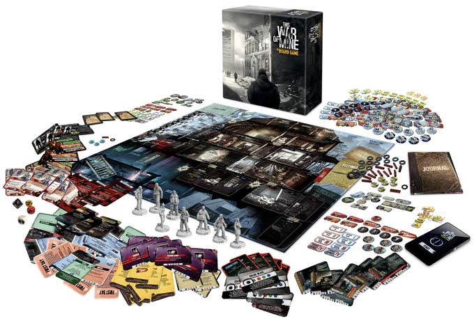 Componentes del juego de mesa This war of mine